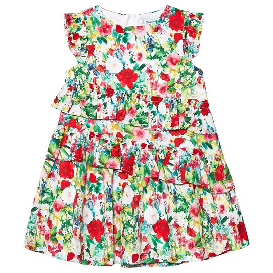 Mayoral Multi Floral Ruffle Tiered Dress 10