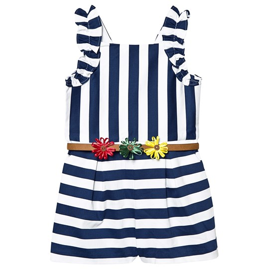 Mayoral Navy and White Stripe Floral Belt Playsuit 37