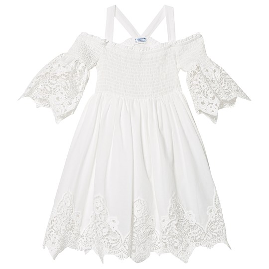 Mayoral Cream Broderie Anglais Off the Shoulder Smock Dress 80