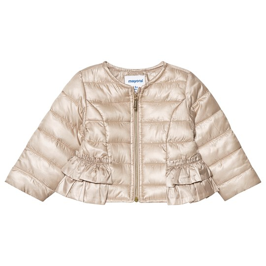 Mayoral Champagne Gold Soft Ruffle Hem Lightweight Puffer Jacket 42