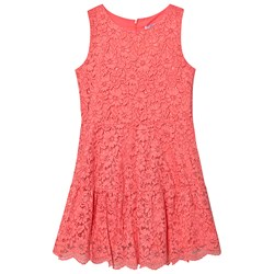 Mayoral Coral Lace Sleevless Drop Hem Dress