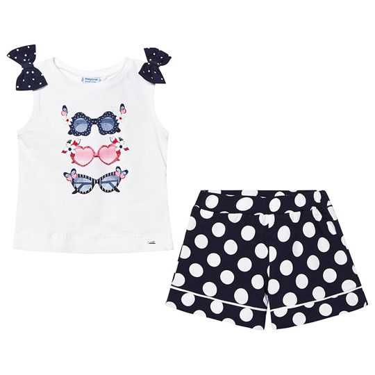 Mayoral Navy and White Polka Dot Short with Sunglasses Tee Set 50