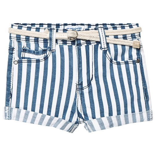 Mayoral Blue and Cream Striped Denim Shorts 9