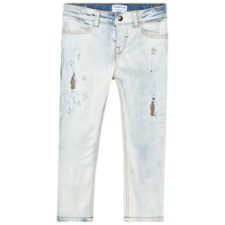 Mayoral Blue Light Wash Denim with Pearl and Distressed Detail