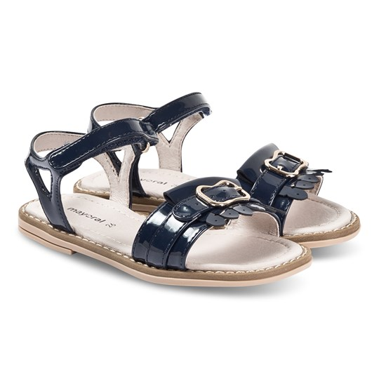 Mayoral Navy Patent Leather Fringe Sandals 37