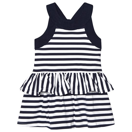 Mayoral Navy and White Stripe Tiered Jersey Dress 56