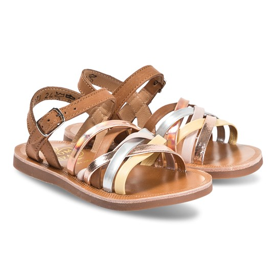 Pom Dapi Gold, Camel and Tan Plagette Lux Sandals Tomaia Camel - Nude