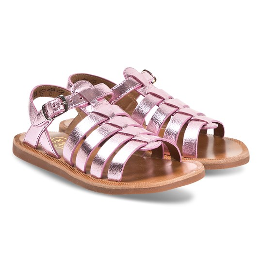 Pom Dapi Pink Metallic Leather Plagette Strap Leather Sandals Laminato Metal Rose