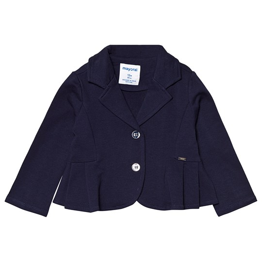 Mayoral Navy Jersey Blazer with Pleated Hem 70
