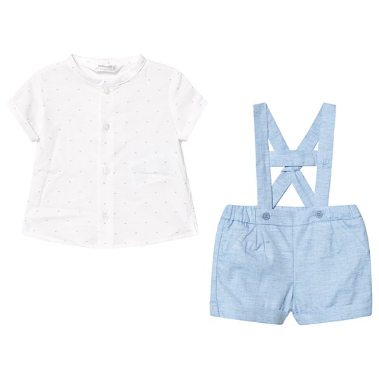 Mayoral Sky Blue and White Shirt and Dungaree Short Set 35