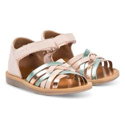 Pom d'Api Gold and Multi Colour Cross Over Poppy lux Leather Sandals