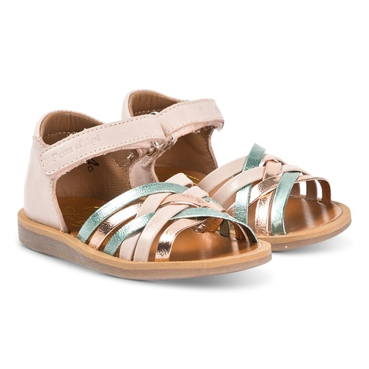 Pom Dapi Gold and Multi Colour Cross Over Poppy lux Leather Sandals Maverick Lux Nude - Menthe - Cuivre