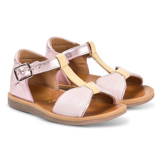 Pom Dapi Metallic Rose Gold Poppy Bow Tie Leather Sandals Metalic - Smooth / Rose - Sun