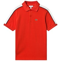 b185bf69 Lacoste Red Ribbed Collar Pique Polo with White Taping 9EF