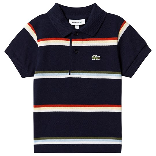 Lacoste Navy Multi Striped Ribbed Collar Pique Polo QRN