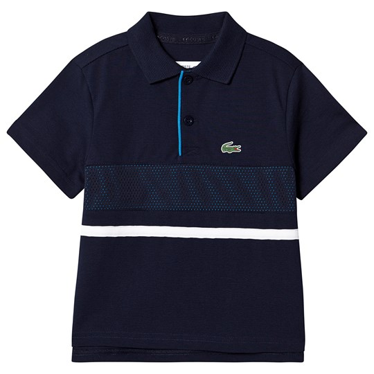 Lacoste Grey & Blue Panel Mesh Ribbed Collar Super Light Tennis Polo 9X4