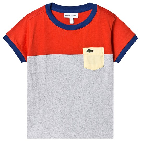 Lacoste Grey & Red Colour Block Tee with Yellow Pocket 71Q