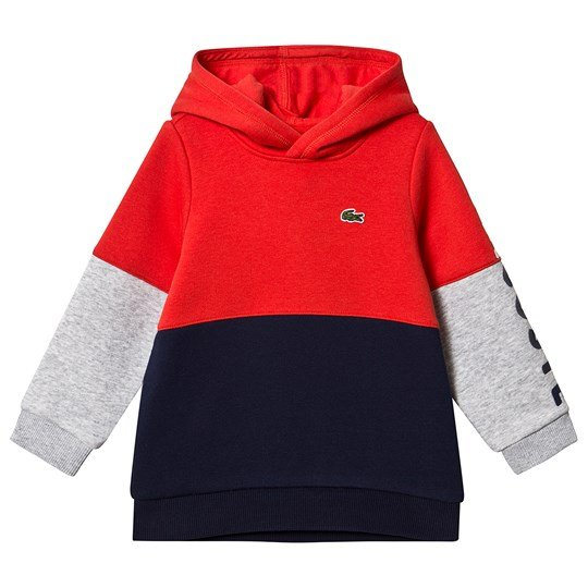 Lacoste Navy & Red Colour Block Hoodie 73E