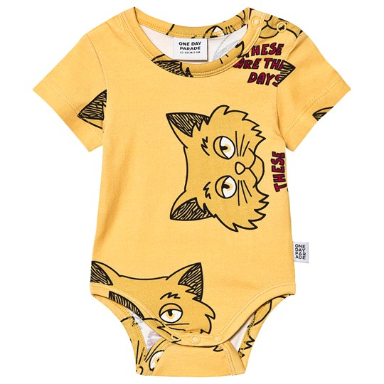One Day Parade Cat Baby Body Gul YELLOW CAT AOP