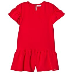Mayoral Red Crepe Ruffle Sleeve Playsuit
