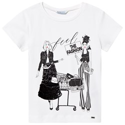 Mayoral White ´Feel the Fashion´ Sequin Graphic Tee