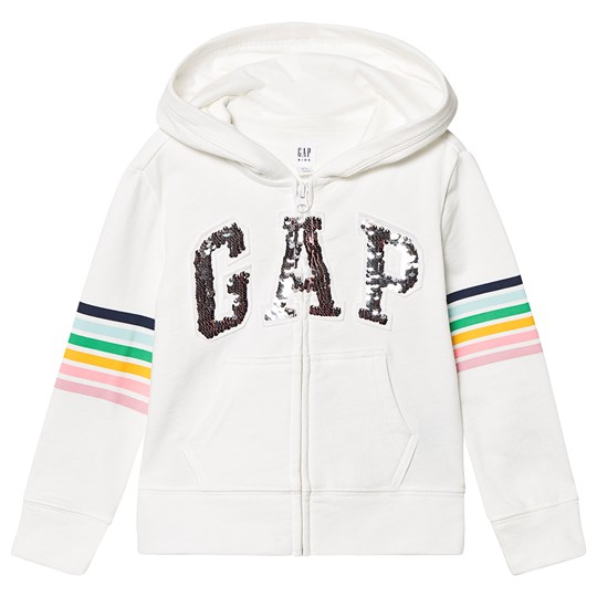 GAP Flip Sequins Logo Hoodie New Off White NEW OFF WHITE