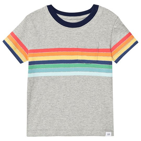 GAP Striped Tee Light Heather Grey B08 Light Heather Grey B08