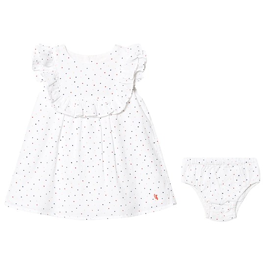 Carrément Beau White Dot Cotton Crepe Dress with Bloomers 117