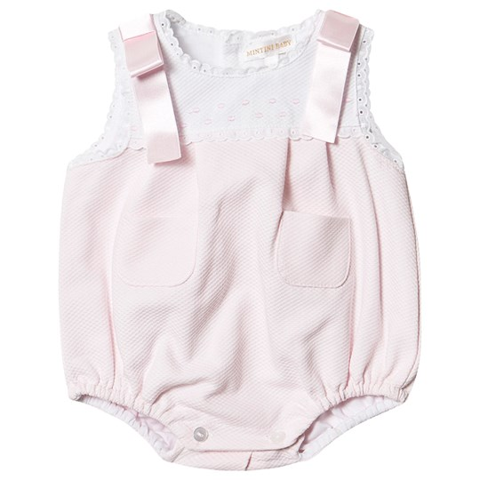 Mintini Baby Pink and White Bow Detail Romper Pink