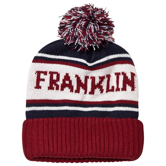 Franklin & Marshall Dark Red & Navy Colourblock Branded Bobble Beanie 912