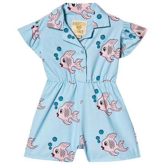 Hugo Loves Tiki Ruffle Romper Blue Fish Blue Fish