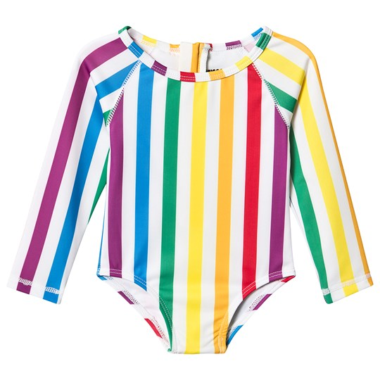 Hugo Loves Tiki Surf Long Sleeve Swimsuit in Rainbow Stripe Rainbow Stripe