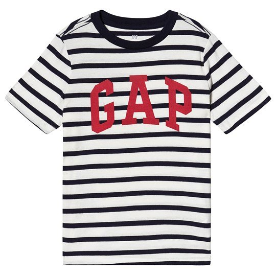 GAP Logo Tee Navy and White Navy stripe