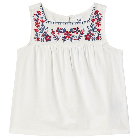 GAP Floral Embroidered Tank Top New Off White OPTIC WHITE