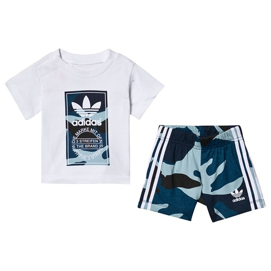 adidas Originals Multi Camo Branded T-Shirt and Short Set Top:white/MULTICOLOR Bottom:MULTICOLOR/WHITE
