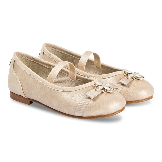 Mayoral Jeweled Bow Ballet Pumps Gold 88