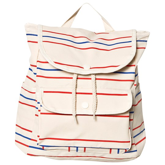 Tinycottons Retro Lines Backpack Cream/Red/Ultramarine cream/red/ultramarine