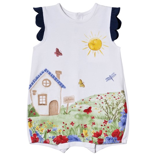Mayoral Navy and White Home Scene Romper 36