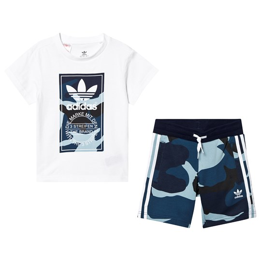 adidas Originals Multi Camo Logo T-Shirt og Shorts Top:white/MULTICOLOR Bottom:MULTICOLOR/WHITE
