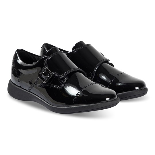 Clarks Etch Strap Shoes Black Patent Black Pat