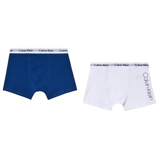 Calvin Klein White and Blue Branded Pack of 2 Trunks 134