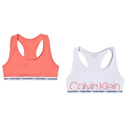 Calvin Klein 2-Pack White and Pink Branded Bralettes 667