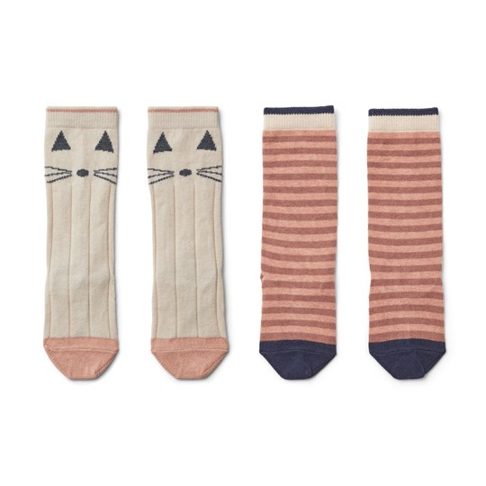 Liewood 2-Pack Sofia Knee Socks Cat/Coral Blush Cat stripe coral blush