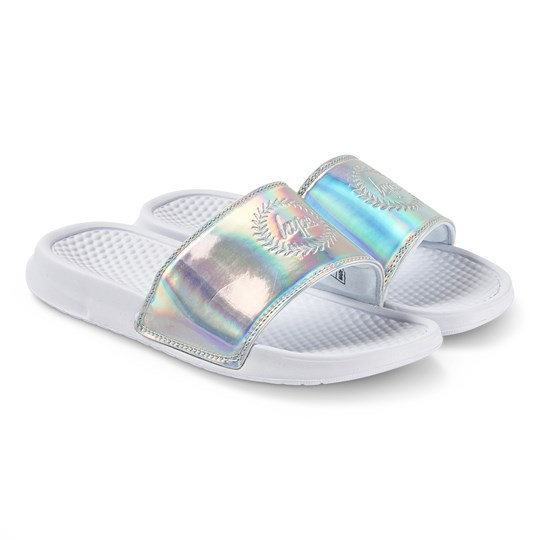 Hype Holographic Sliders Silver Silver/White