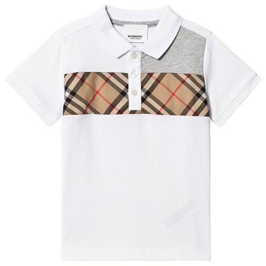 Burberry Vintage Checked Panel Polo White A1464