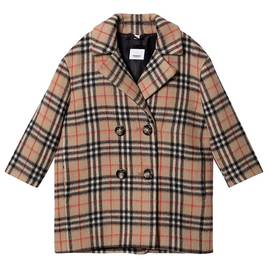 Burberry Vintage Check Pea Coat Archive Beige A7026