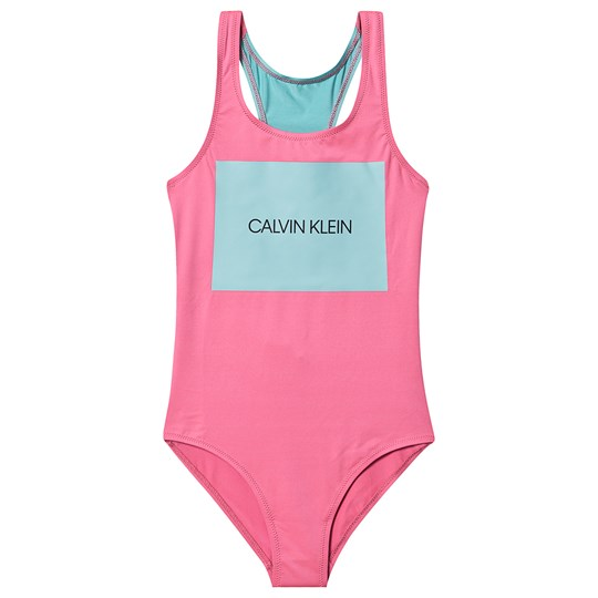 Calvin Klein Pink and Blue Branded Print Swimsuit 634