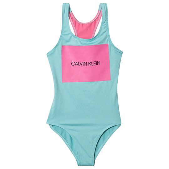 Calvin Klein Blue and Pink Branded Print Swimsuit 421