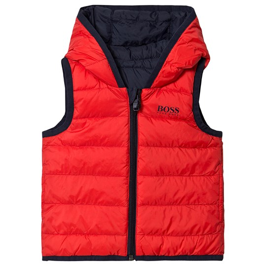BOSS Reversible Water Repellent Gilet Red/Navy 97E