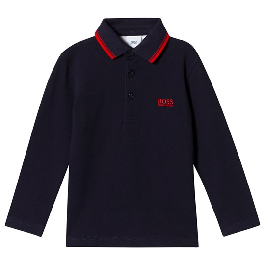 BOSS Logo Long Sleeve Polo Navy 849